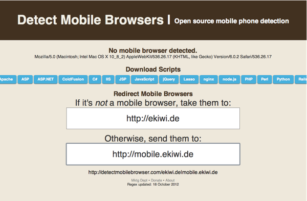 Mobile Browser detection