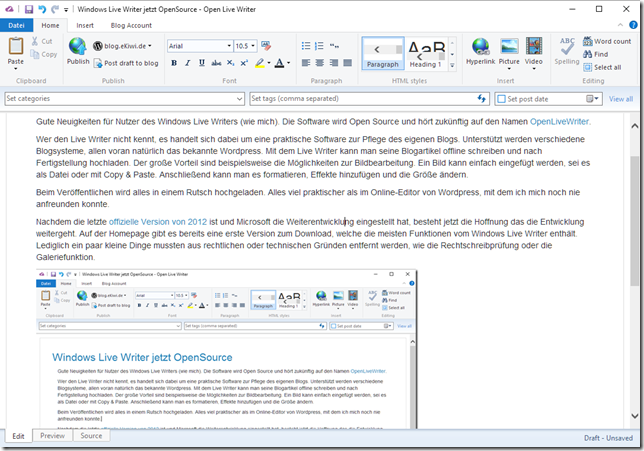 Windows Live Writer jetzt OpenSource
