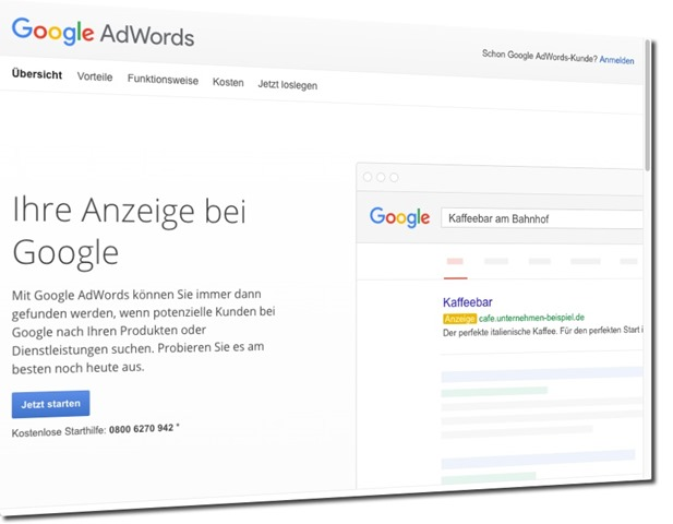 Screenshot von Google Adwords