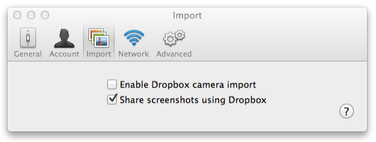 Dropbox mit Screenshot-Import