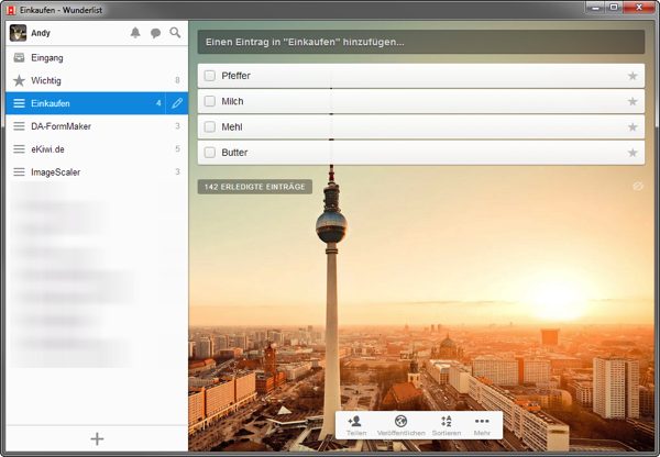Wunderlist Windows 7
