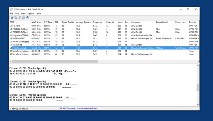 WifiInfoView – Informationen zu WLAN-Netzen anzeigen