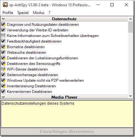 xp-Antispy kehrt zurück für Windows 10