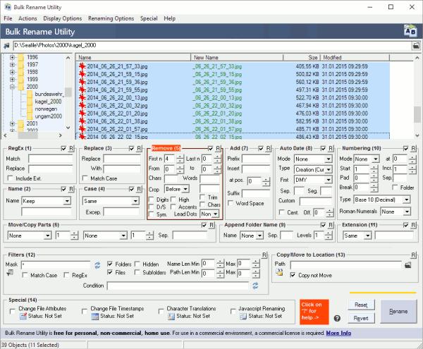 Viele Dateien umbenennen mit Bulk Rename Utility