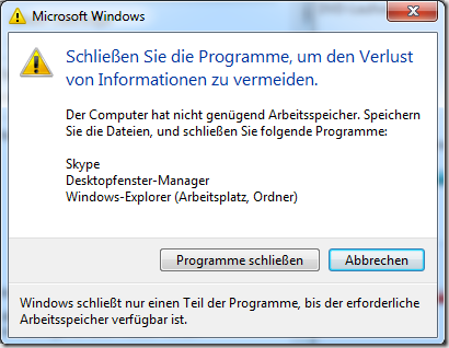 Bild: Schließen Sie die Programme, um den Verlust von Informationen zu vermeiden.