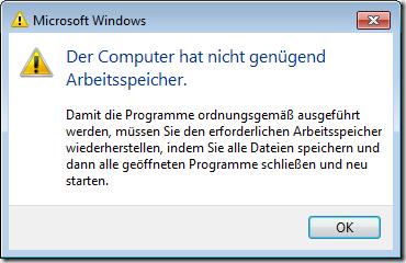Bild: Der Computer hat nicht genügend Arbeitsspeicher