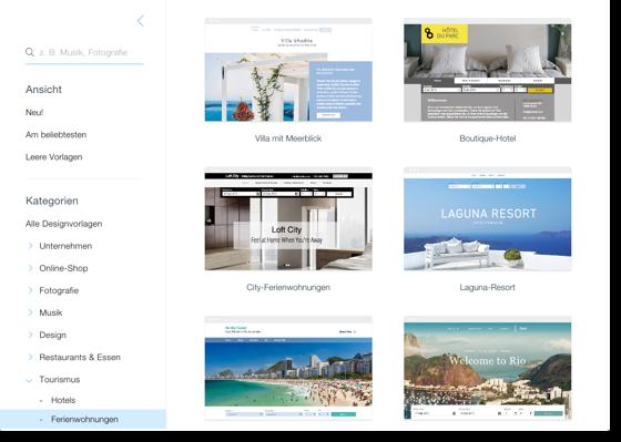 Screenshot der Template-Seite für Ferienwohnungen von Wix.com