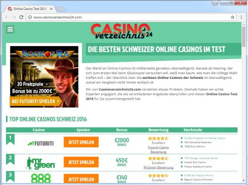 Screenshot casinoverzeichnis24.com vom 25.09.2016