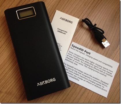 Inhalt der Akkubank: Akkubank, Beschreibung, ein USB-Ladekabel