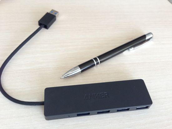 Größenvergleich des Hubs mit Stift
