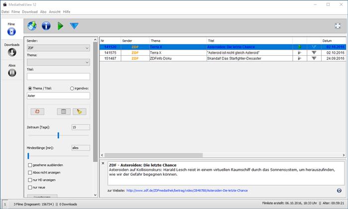 MediathekView - Filter und Suchfunktion