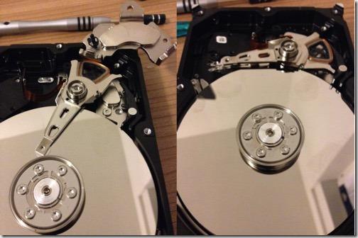 Magnetplatten und Schreib-/Lesekopf einer Festplatte