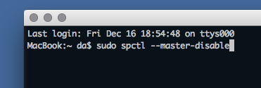 Terminal: sudo spctrl --master-disable