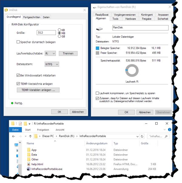 RAM-Disk eingerichtet Screenshot