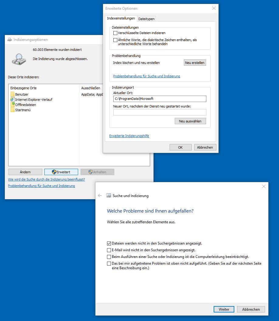 Windows 10 - Suchindex reparieren und neu erstellen