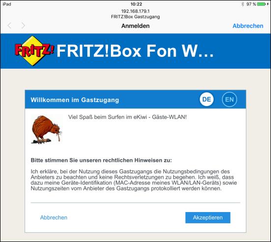 Vorschaltseite Fur Gastzugang Mit Fritz Box Ekiwi Blog De