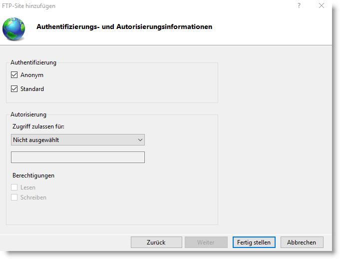 FTP Authentifizierungs- und Autorisierungsinformationen