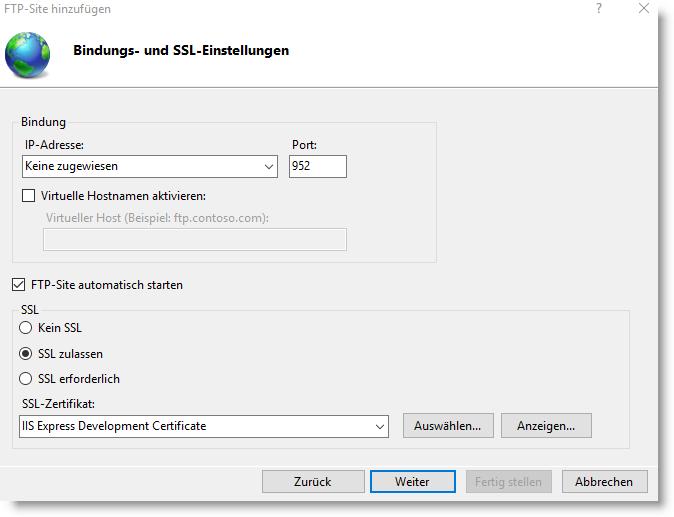 FTP Bindungs- und SSL-Einstellungen