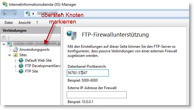 FTP-Firewallunterstützung Datenkanal-Portbereich festlegen