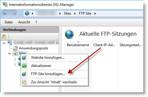 FTP-Site hinzufügen im IIS-Manager