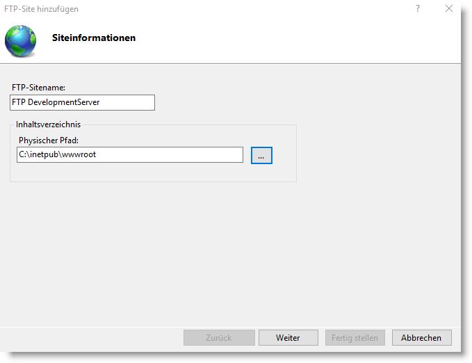 Siteinformationen FTP-Sitename und physischen Pfad eingeben