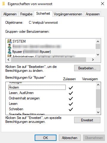 FTP Benutzerberechtigungen auf den FTP-Ordner einstellen