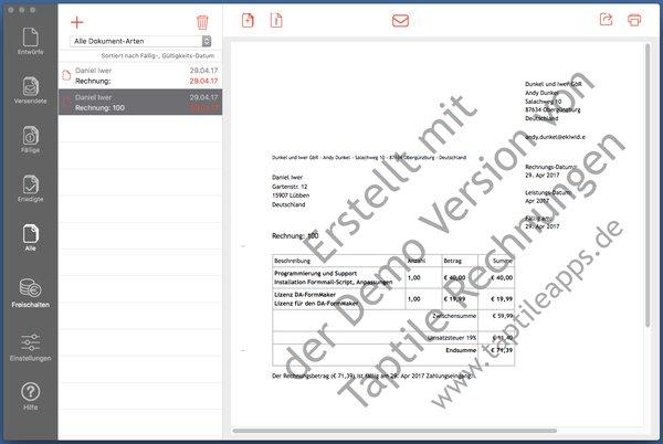taptile rechnungen 2 rechnungen auf dem mac erstellen. Black Bedroom Furniture Sets. Home Design Ideas
