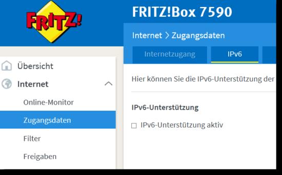 Fritzbox IPv6 deaktivieren