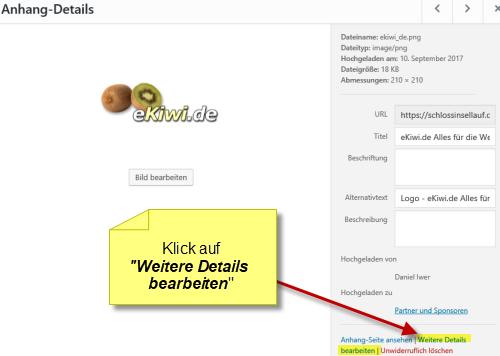 Wordpress weitere Details bearbeiten