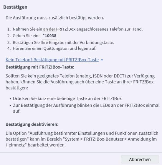 Fritzbox Sicherung mit Telefoncode bestätigen oder alternativ mit Taste an der Fritz!Box
