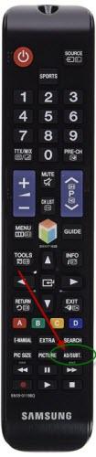 Samsung Fernbedienung mit AD/SUBT-Taste zum Aktivieren und Deaktivieren der Audiodeskription