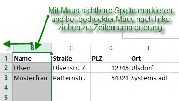 Excel erste Spalte wieder einblenden