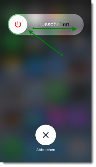 Screenshot iPhone AssistiveTouch Schieberegler fürs Ausschalten