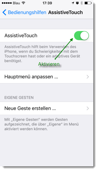 Screenshot iPhone Einstellung AssistiveTouch aktivieren