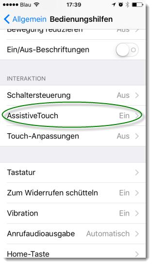 Screenshot iPhone Einstellung AssistiveTouch