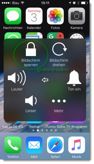 Screenshot iPhone AssistiveTouch Bildschirm sperren gedrückt halten