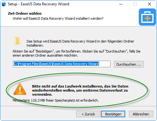 Screenshot EaseUs Datarecovery Installations-Menü