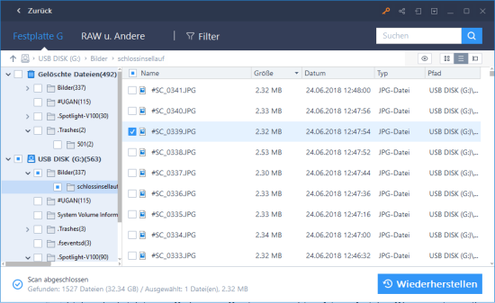 Screenshot EaseUs Datarecovery Dateienansicht