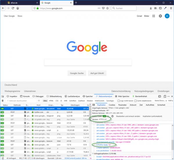 Screenshot Firefox Browser Entwickleransicht Netzwerkanalyse