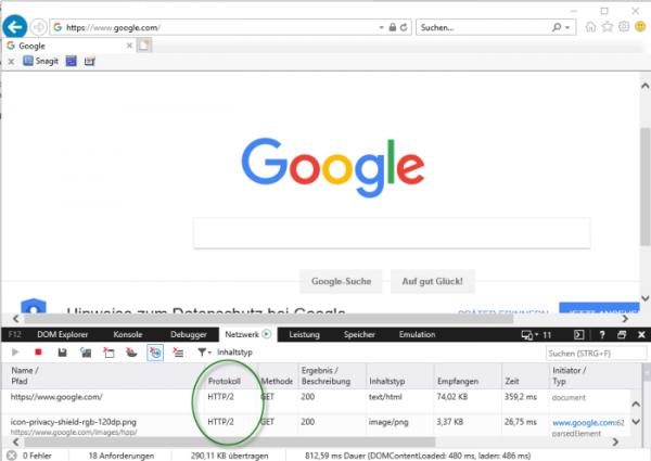 Screenshot Browser Internet Explorer Entwickler-Ansicht Netzwerk HTTP-Protokoll