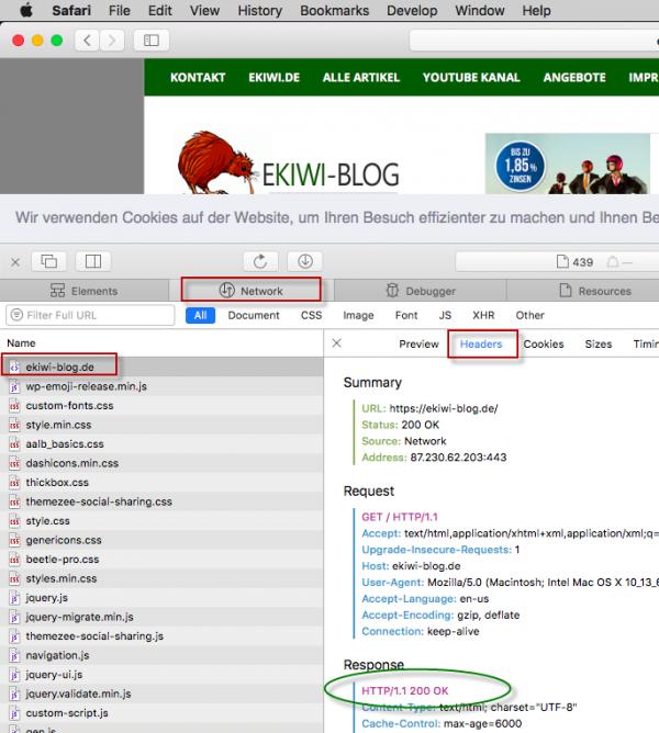 Screenshot Safari Browser Web Inspektor Prüfung Netzwerk HTTP-Headers