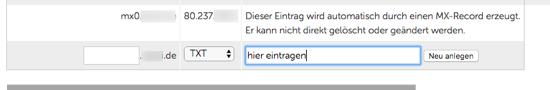 Screenshot DNS TXT-Record Eintrag