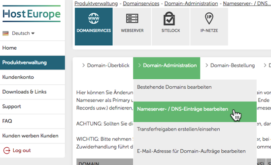 Screenshot Hosteurope Domainservices DNS-Einträge