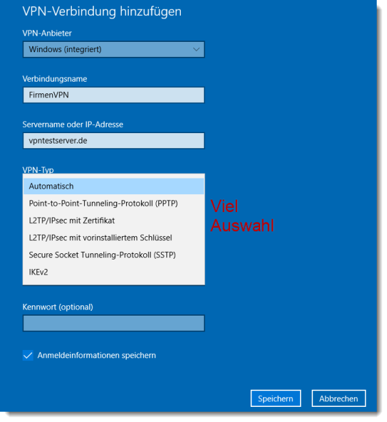 Screenshot von Windows 10 zu den VPN-Client Einstellungen