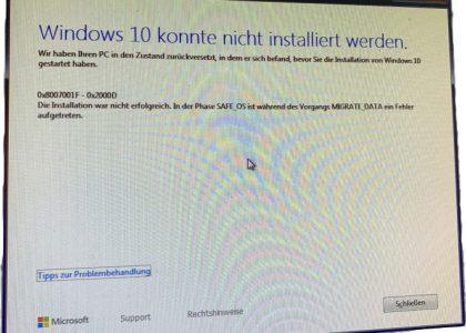 Screenshot Fehlermeldung Windows 10 konnte nicht installiert werden