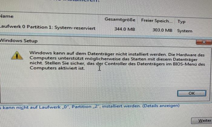 Screenshot Windows kann auf dem Datenträger nicht installiert werden