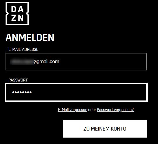 Screenshot DAZN bei Mein Konto anmelden