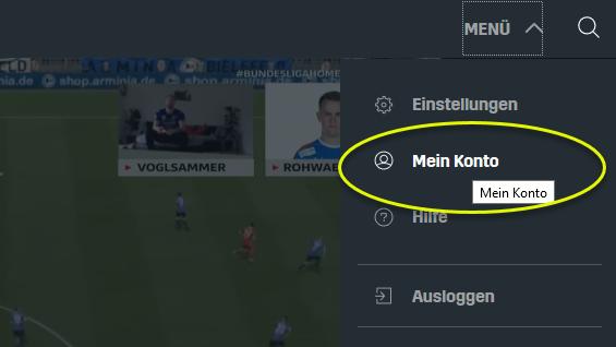 Screenshot DAZN Menü Mein Konto
