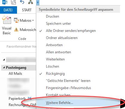 Screenshot Outlook Schnellzugriff Button zum Ausführen des Makros zuweisen