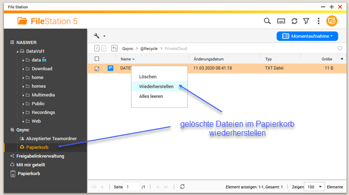 Screenshot QNAP - Qsync - FileStation Papierkorb Gelöschte Dateien wiederherstellen